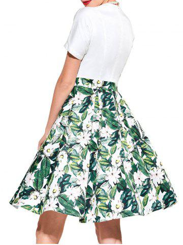 Sale Vintage Floral Print Flare Dress - XL GREEN Mobile
