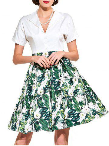 Store Vintage Floral Print Flare Dress - XL GREEN Mobile