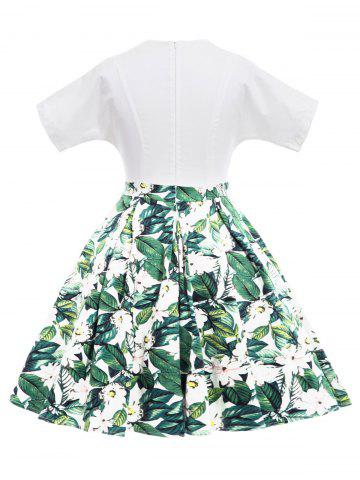 Affordable Vintage Floral Print Flare Dress - XL GREEN Mobile