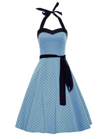 Discount Vintage Halter Polka Dot Belted Dress