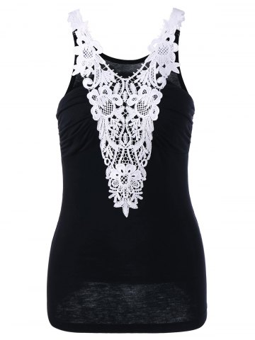 Best Two Tone Applique Tank Top - 2XL WHITE AND BLACK Mobile