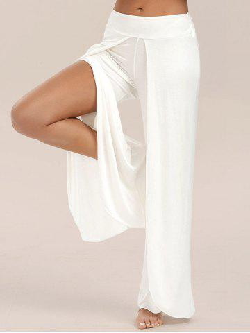 Unique High Slit Palazzo Pants WHITE M