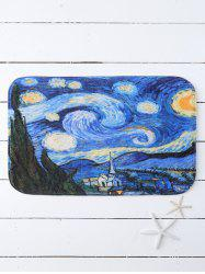 Oil Painting Starry Sky Hydrophil Non Slip Bathroom Mat