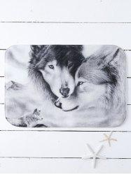 Wolves Print Soft Water Absorb Bath Mat - GRAY