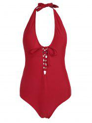 Lace Up Plus Size One Piece Swimsuit - RED 2XL