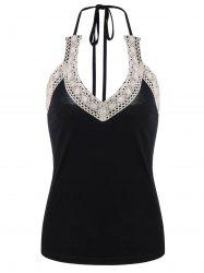 Crochet Trim Halter Tank Top - BLACK L