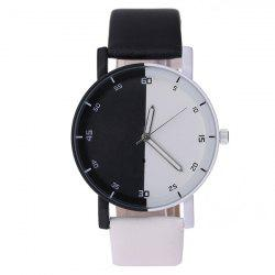 Color Block Faux Leather Quartz Watch