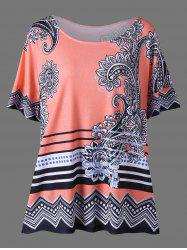 Floral Side Slit Plus Size Casual T-Shirt - ORANGEPINK 2XL
