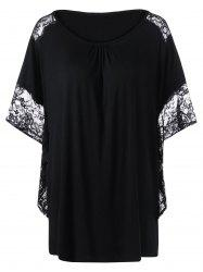 Lace Insert Butterfly Sleeve Plus Size Long T-Shirt