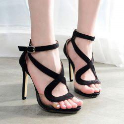 Transparent Plastic Cross Strap Sandals