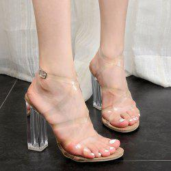 Clear Heel Cross Strap Sandals