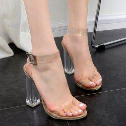 Clear Heel Transparent Plastic Sandals - APRICOT
