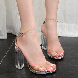 Transparent Plastic Block Heel Sandals - SILVER