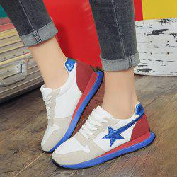 Color Block Star Pattern Athletic Shoes - LIGHT GRAY