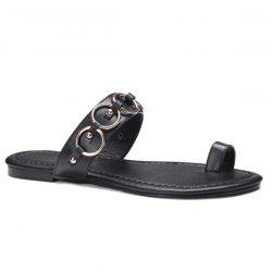 Metal Rings Toe Ring Slippers - BLACK