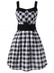 Single Breasted Sleeveless Plaid Dress - WHITE AND BLACK