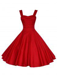 Backless Mini Party Vintage Cocktail Swing Skater Dress - RED S