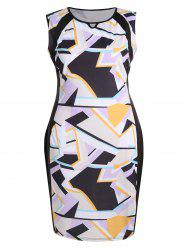 Plus Size  Keyhole Geometric Sleeveless Sheath Dress