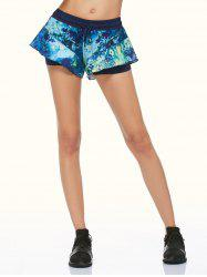 Tie Dye Double Layer Running Shorts - BLACK L