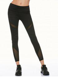 Mesh Panel Running Leggings - BLACK