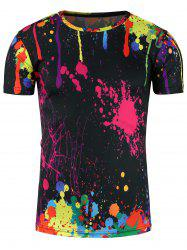 Crew Neck 3D Colorful Splatter Paint Print T-Shirt - COLORMIX 3XL