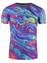Crew Neck 3D Splatter Paint Mix Trippy  T-Shirt