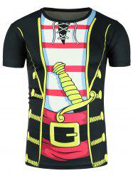 Faux Twinset Cartoon Costume Print Novelty T-Shirts