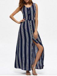 Ankle Length Vertical Striped Maxi Slit Dress - PURPLISH BLUE