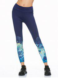 Tie Dye Yoga Running Leggings - DEEP BLUE