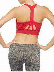 Cutout Padded Sports Racerback Bra - RED
