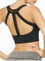 Padded Strappy Sports Yoga Bra - BLACK
