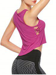 Criss Cross Sports Crop Running Tank Top - PAPAYA