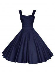 Backless Mini Vintage Cocktail Party Skater Dress - DEEP BLUE