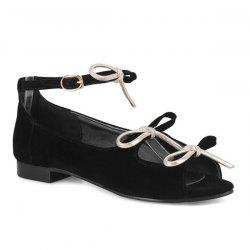 Ankle Strap Flat Heel Peep Toe Shoes