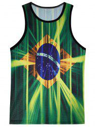 3D Ombre Flag of Brazil Print Openwork Tank Top - COLORMIX