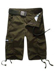 Button Pocket Cargo Shorts - ARMY GREEN