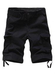 Zipper Fly Cargo Shorts - BLACK