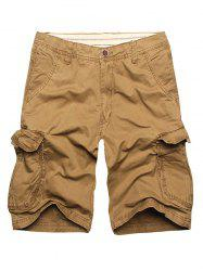 Zip Fly Cargo Shorts with Flap Pockets