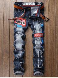 Straight Ripped Embroidered Denim Jeans