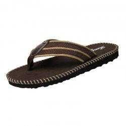 Striped Letter Pattern Flip Flops - BROWN