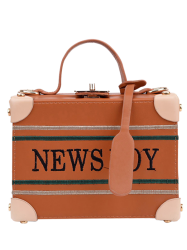 News Boy Embroidery Box Handbag