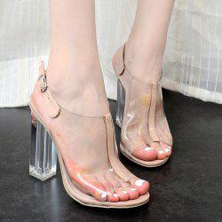 Clear Heel Buckle Strap Sandals