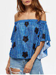 Off The Shoulder Striped Floral Print Tee -