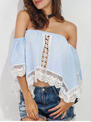 Lace Trim Scalloped Off The Shoulder Crop Blouse