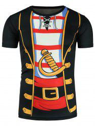 Faux Twinset Cartoon Dagger Costume Print Novelty T-Shirts