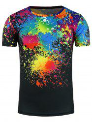 Crew Neck Colorful Splatter Paint 3D Print T-Shirt