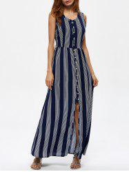 Striped Button Up Long Swing Boho Dress