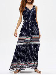 Geometric Print Grommet Striped Maxi Dress