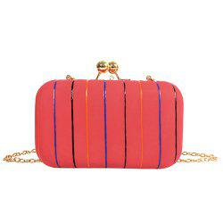 Chains Kisslock Striped Evening Bag