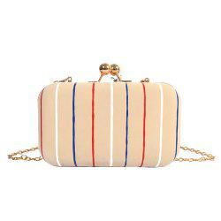 Chains Kisslock Striped Evening Bag - APRICOT